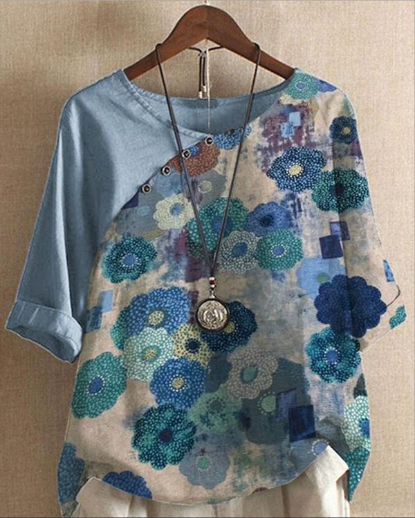 Vintage Color-block Printed Cotton And Linen Button Blouses