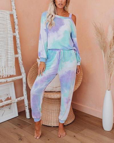Tie Dye Lougewear Sexy Long Sleeves Top And Pants Sets