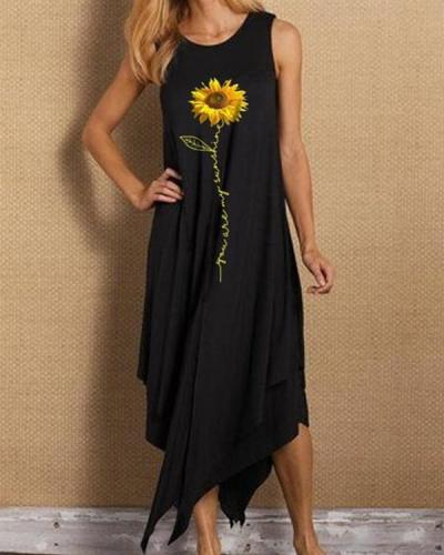 Sleeveless Sunflower Print Irregular Hem Holiday Midi Dress