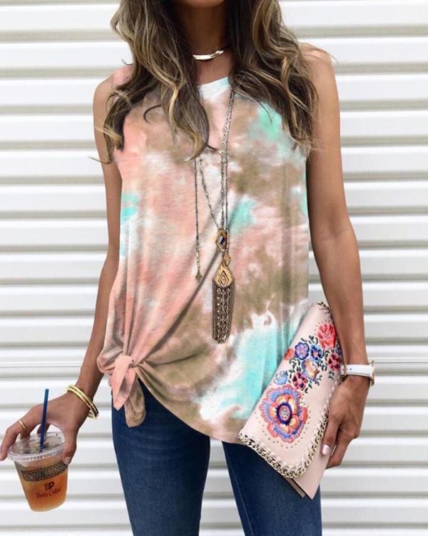 Sleevless Tie Dye Casual T-shirts Vest