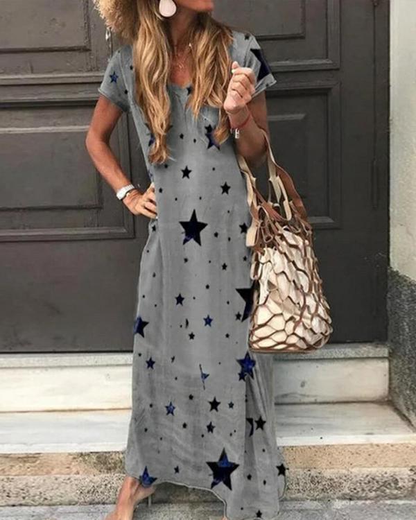 Women's Casual Loose Short Sleeve Printed Long Dress V-Neck Maxi Dresses