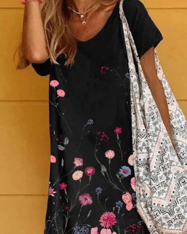 Black Short Sleeve Casual Flower Print Dresses