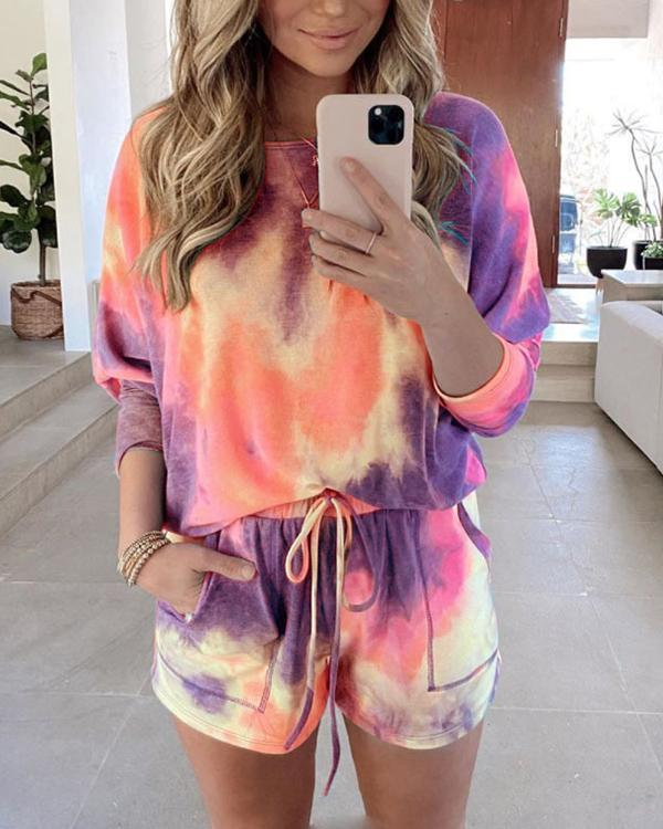 Tie Dye Long Sleeve Top And High Waist Shorts Women Loungewear
