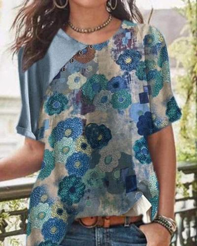 Vintage Color-block Printed Cotton And Linen Button Blouses