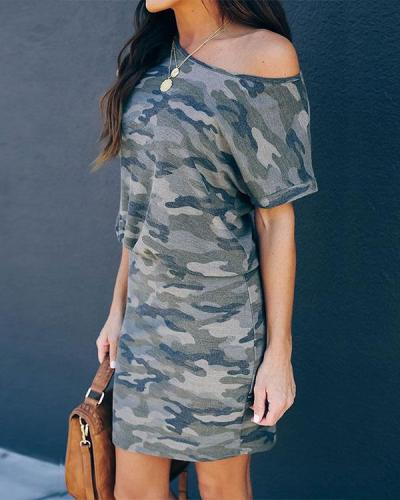 Print Round Neck Short Sleeve Camouflage Casual Dress