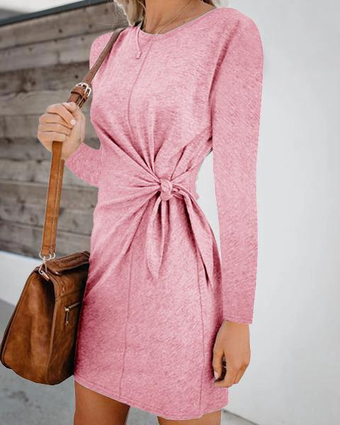 Solid Slim Long Sleeve Round Neck Women Fashion Casual Mini Dresses