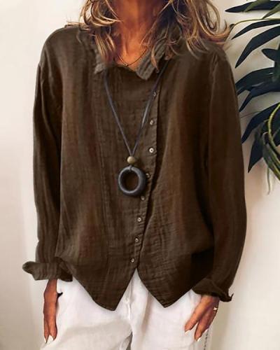 Women Casual Long Sleeve Irregular Shirt