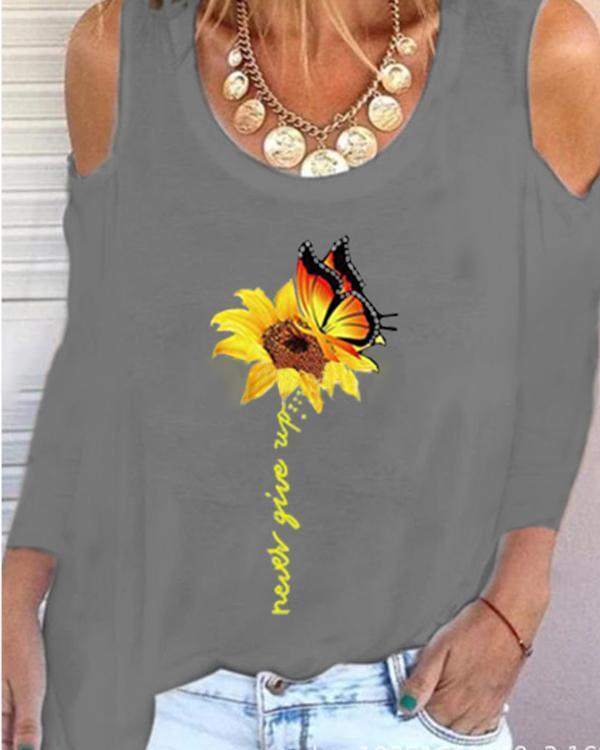 Sunflower Print Long Sleeve Casual Shirts & Tops
