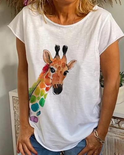 Loose casual printed T-shirt
