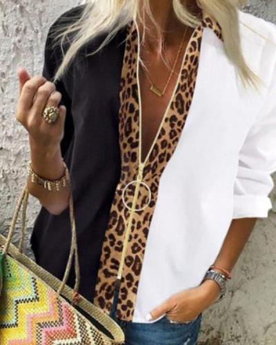 Women's Patchwork Leopard Print Long Sleeve Shirt