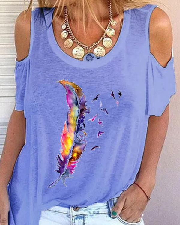 Feather Print Long Sleeve Casual Shirts & Tops