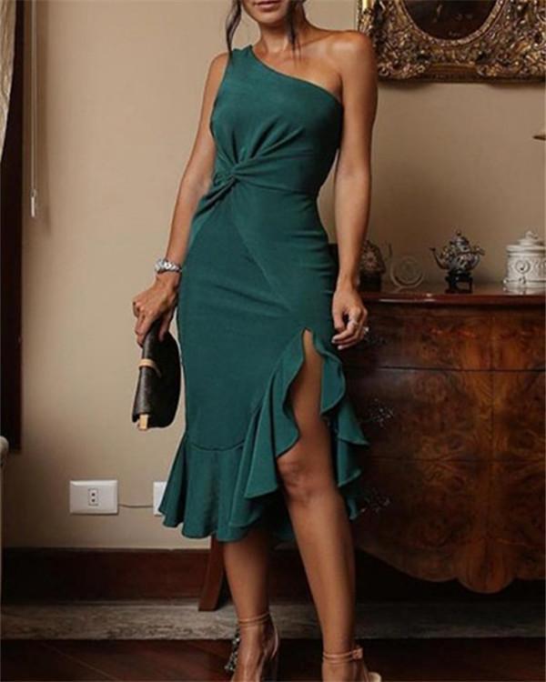 Sexy One Shoulder Irregular Ruffles Mini Bodycon Dress