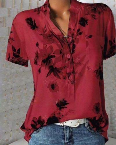 Print Floral Short Sleeve V Neck Casual Blouse