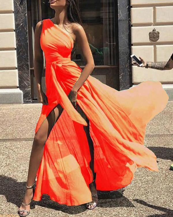 Sexy One Shoulder Sleeveless Maxi Dress