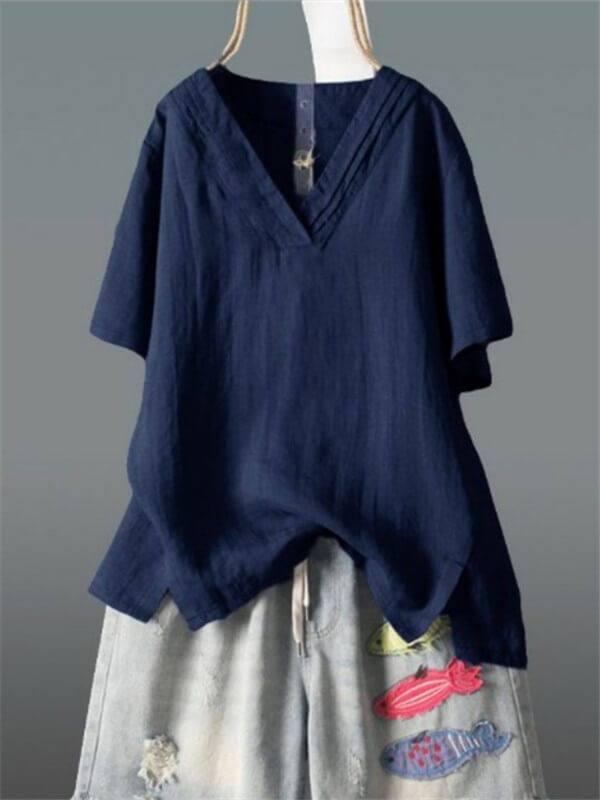 Fashion V-Neck Irregular Loose Solid Color T-Shirts