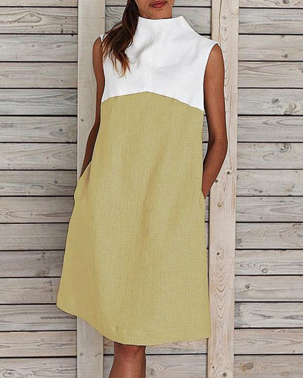 Midi Dresses Women Summer Shift Sleeveless Turtleneck Paneled Dresses