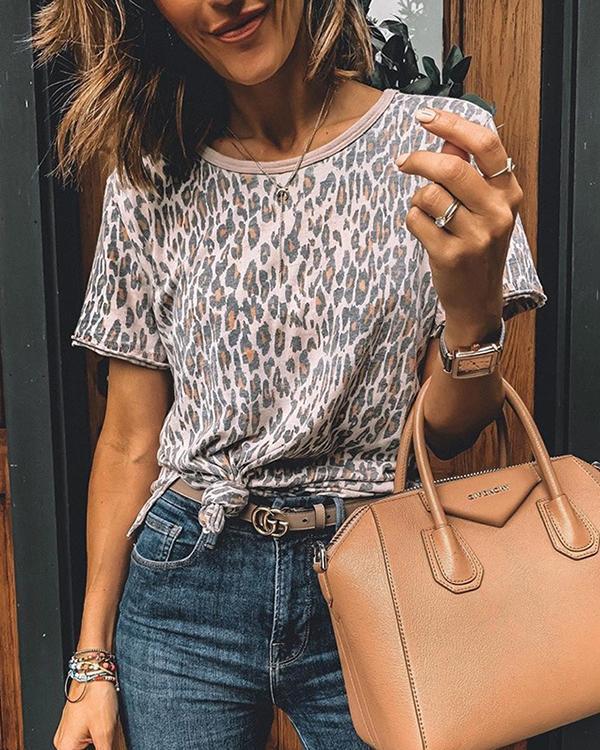 Short  Sleeve Animal Print Tee Shirt