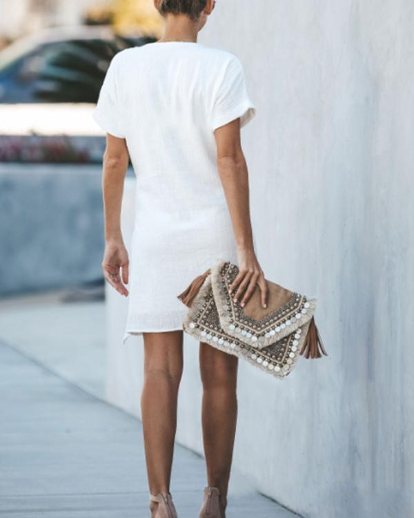Summer Solid V-Neck Cross Short Sleeved Dress