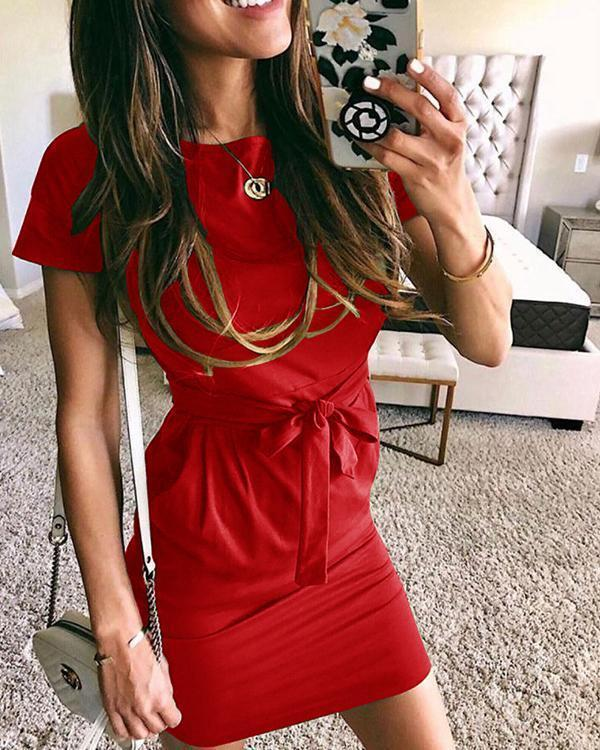 Solid Color Short Sleeve Slim Fit Dress