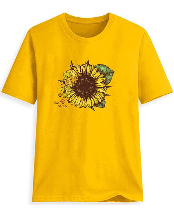 Women Print Sunflower T-shirt Ladies Short Sleeve Daily Tops