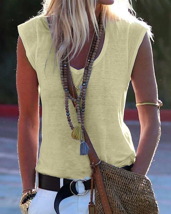 Solid Color  V-neck Sleeveless Casual T-shirt