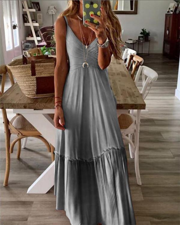 Sleeveless V Neck Beach Holiday Daily Fashion Maxi Dresses