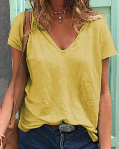 Summer Tops V-Neck Short Sleeve Casual Solid T-Shirts