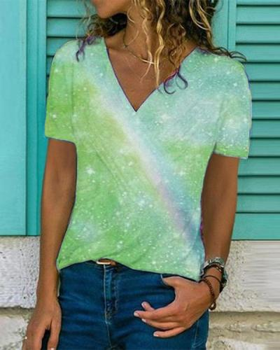 Multicolor Cotton Short Sleeve Holiday Shirts & Tops