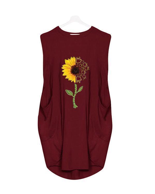 Sumflower Printing Oversized Long T-Shirt Sleeveless Midi Dress With Pockets