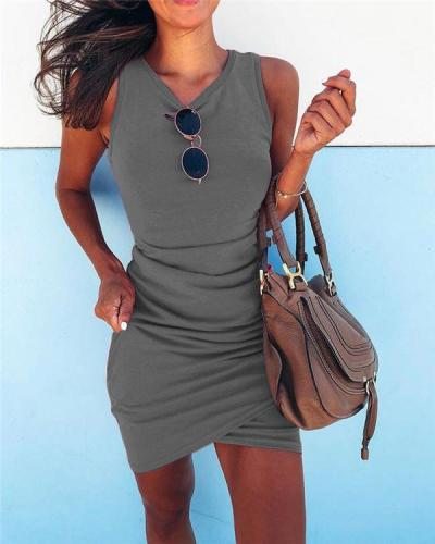Sexy Solid Slim Sleeveless Holiday Dresses Shift Daytime Mini Bodycon Dresss