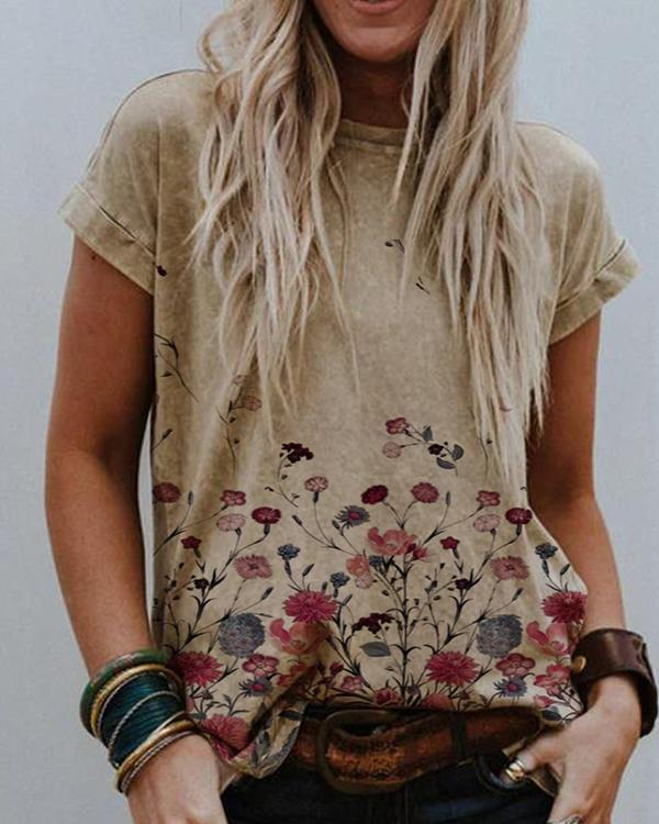 Simple Round Neck Printed Cotton-Blend Shirts & Tops