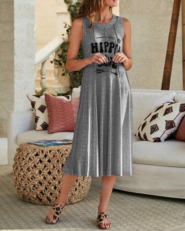 Sleeveless Asymmetric Letter Printed Casual Dresses