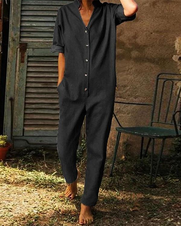 Solid V-neck Side Pockets Buttoned Jumpsuits