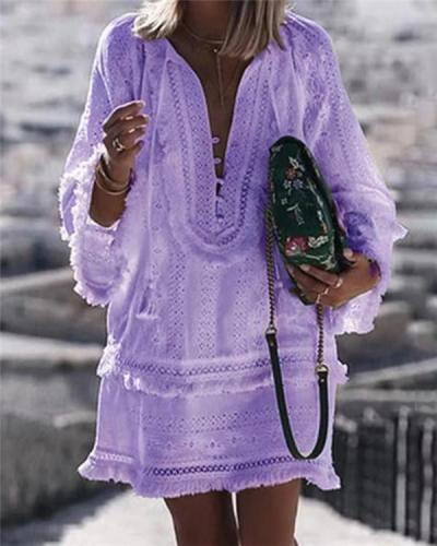 Solid Elegant Holidaiy Long Sleeve Skirt Mini Dress
