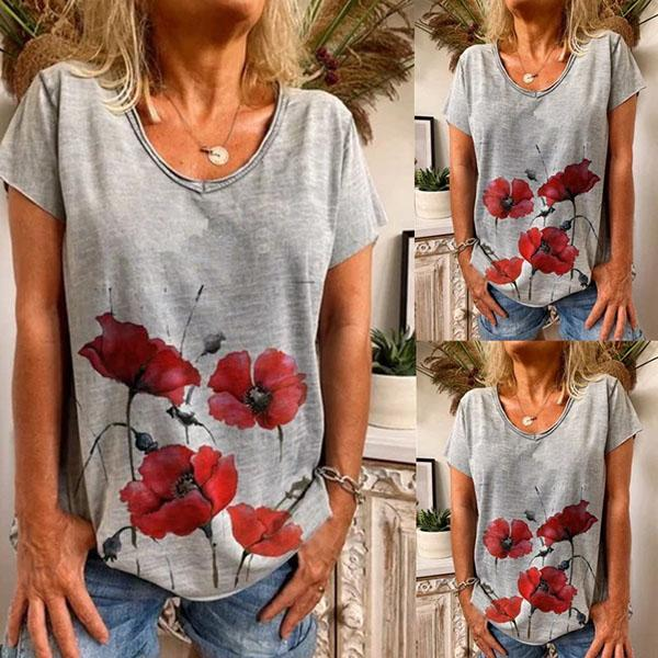 Gray Short Sleeve Printed Cotton Shirts & Tops