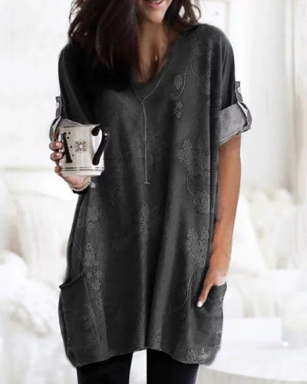 Temperament Printed V-Neck Loose Long Sleeve T-Shirt