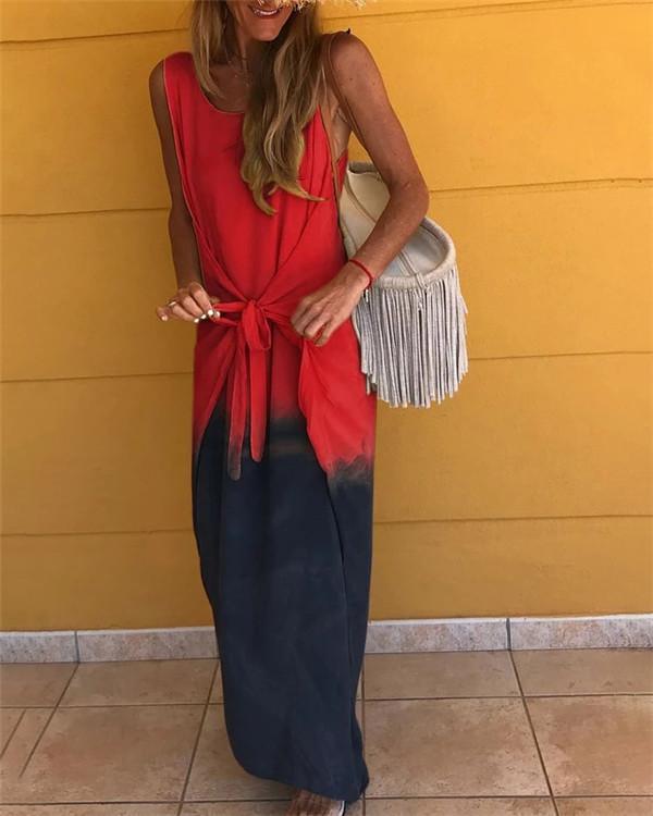 Sleeveless Gradient Round Neck Holiday Daily Fashion Maxi Dresses
