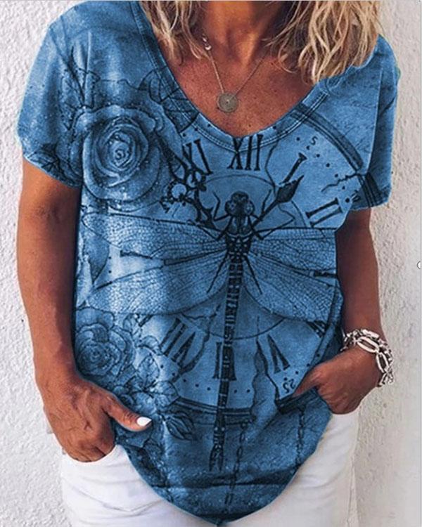 Dragonfly Printed Short Sleeve Loose T-shirts