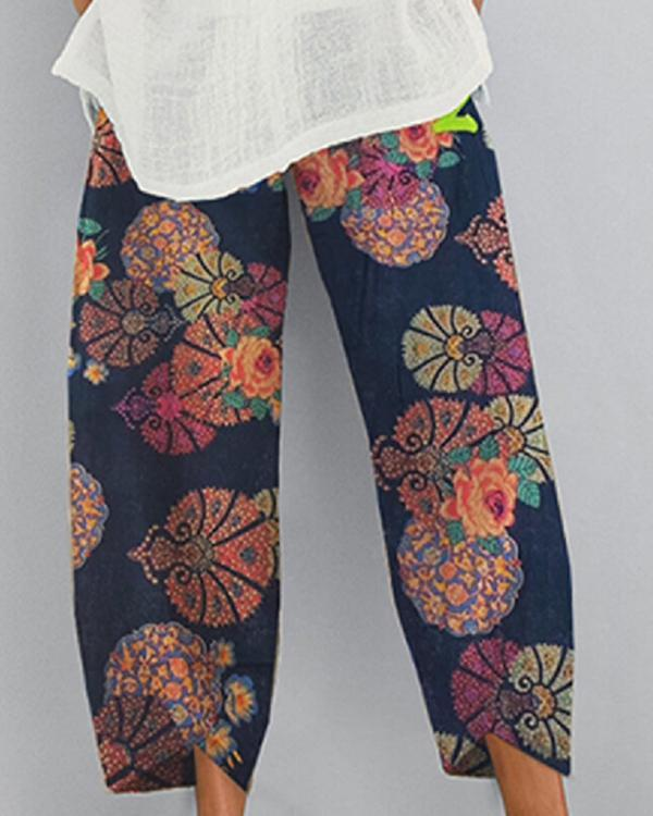Cotton And Linen Printed Elastic Cropped Pants