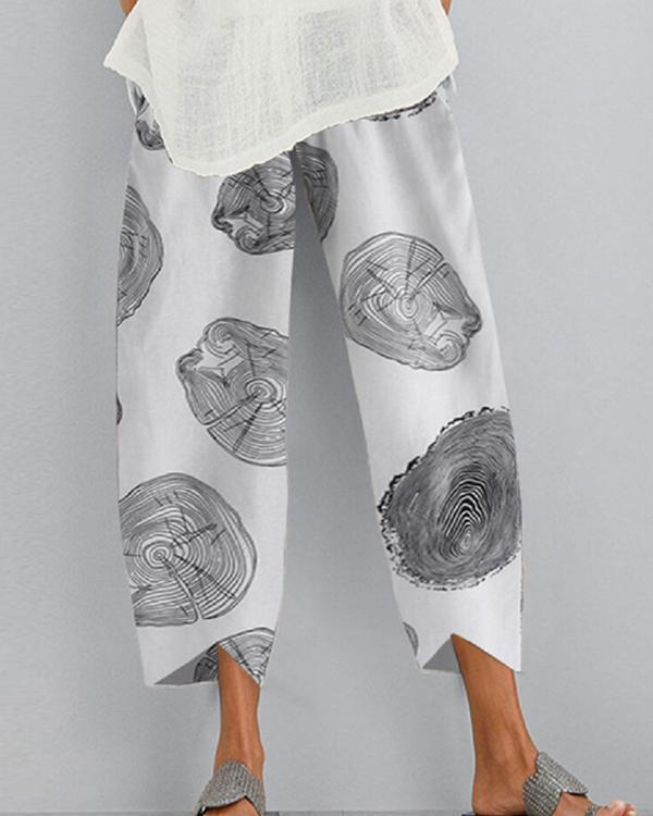 New Fashion Loose Cotton and Linen Printed Casual Pants