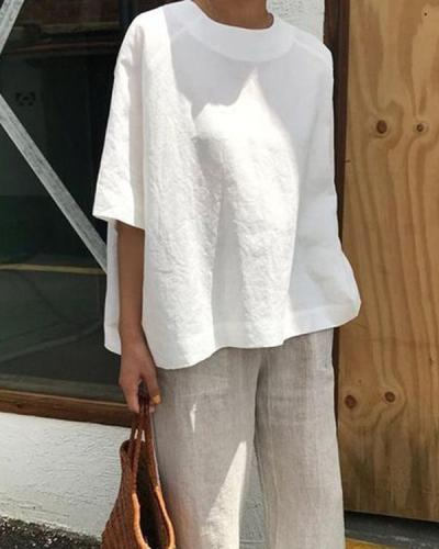 Short Sleeve Crew Neck Casual Summer Women Holiday Blouse