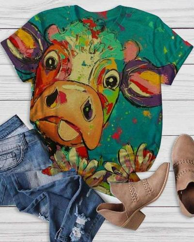 Casual Animal Pattern Round Neck Shirts & Tops