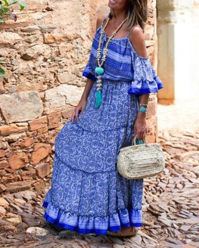 Off Shoulder Women Summer Dresses Flounce Dresses