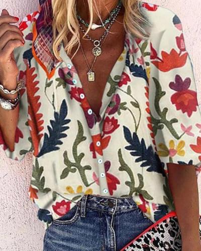 Print V-Neck 1/2 Sleeves Button Up Casual Knit Blouses