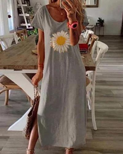 Women Daisy Caftan Slit Casual Floral Dresses
