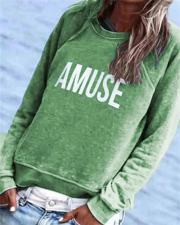 Casual Letter Printed Long Sleeve Crew-Neck Top