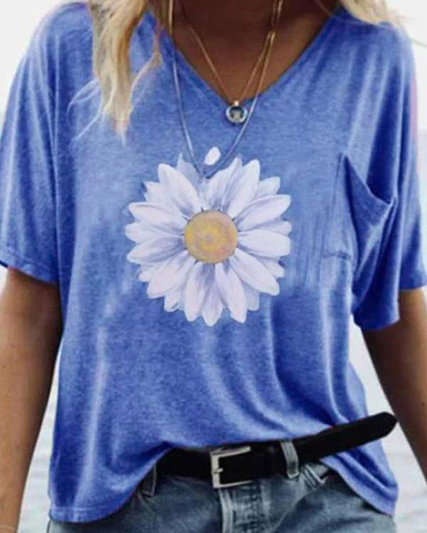 V Neck Printed Summer Short Sleeve Shirts & Tops