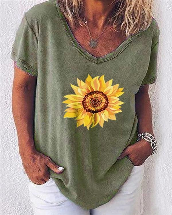 Sunflower Love V Neck T-Shirt