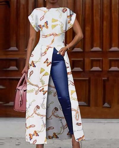 Women Fashion Long Blouses Print Tops