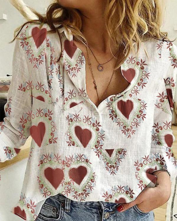 Heart Printed A Lapel Long Sleeve Blouse